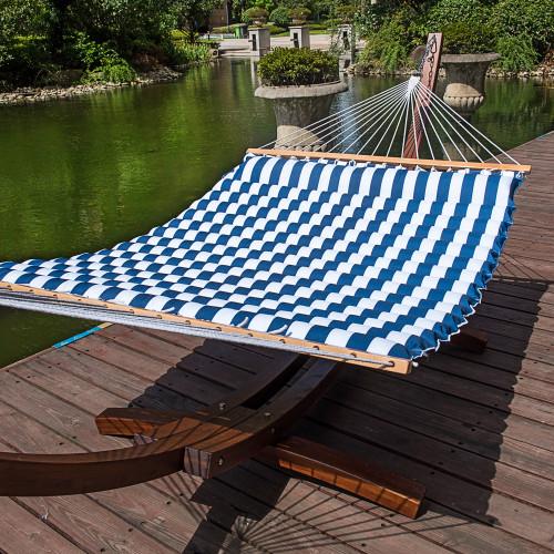 lazy daze hammocks 58 inch double size pillow top hammock swing bed with spreader bar heavy double pillow top hammock  white blue stripe   rh   sundaleoutdoor