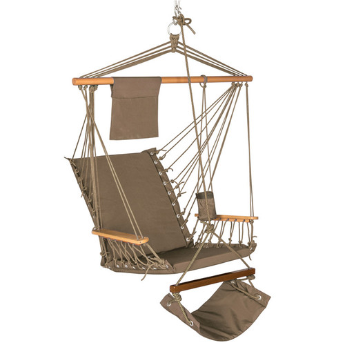 Lazy Daze Hammocks Hanging Rope Chair Cotton Padded Swing Chair Hammock Seat with Cup Holder,Footrest&Hardware for Patio Garden Outdoor Indoor, Capacity 350 lbs (Tan)