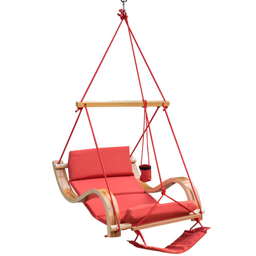 Lazy Daze Hammocks Patio Garden Outdoor Deluxe Hanging Hammock Lounger Chair with Cup Holder,Footrest&Hardware, Capacity 350 lbs (Red)