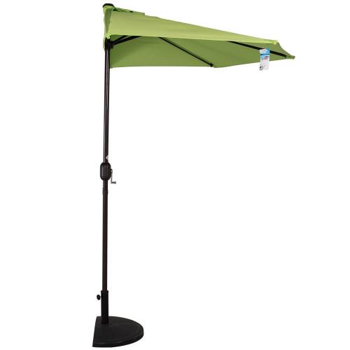 9 Feet Steel Half Patio Umbrella with Crank, 5 Steel Ribs (Apple Green)