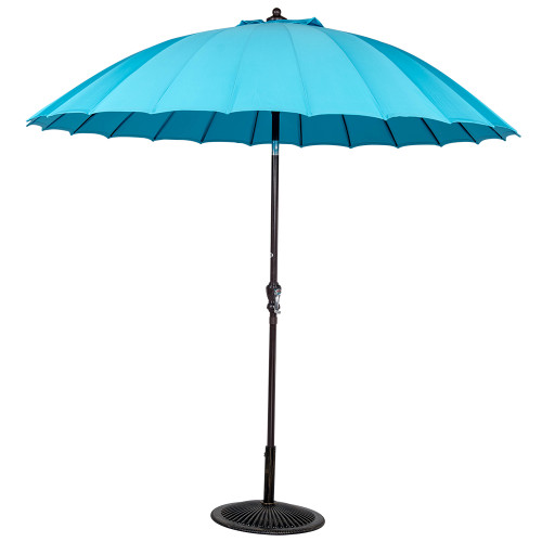 9ft Patio Garden Parasol Outdoor Market Umbrella with Push Button Tilt and Crank, 24 Ribs and UV Resistant Fabric (Blue)