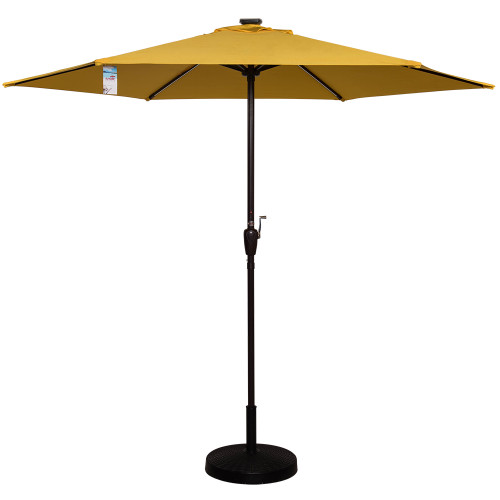 Deluxe Solar Powered LED Stripe Lighted Outdoor Patio Market Umbrella with Crank, 9Feet(Yellow)