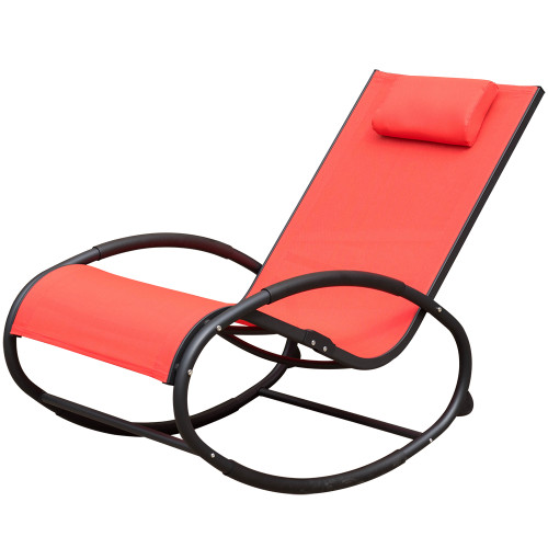 Patio Aluminum Zero Gravity Chair Orbital Rocking Lounge Chair with Pillow,Capacity 250 Pounds,Red