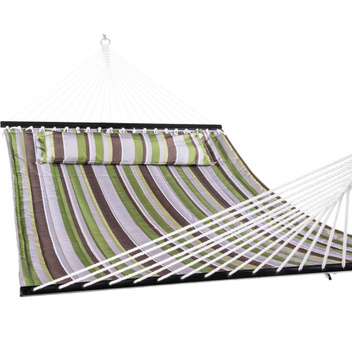 "LazyDaze Hammocks 55""Double Quilted Fabric Hammock with Pillow, Green Stripe"