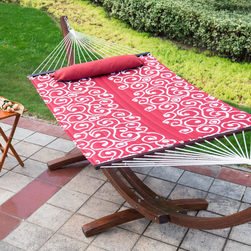 Lazy Daze Hammocks Hammock Quilted Fabric with Pillow for Two Person Double Size Spreader Bar Heavy Duty Stylish,Red Citrus