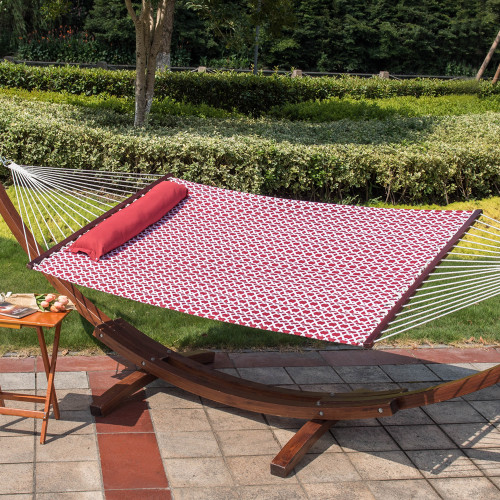 lazy daze hammocks hammock quilted fabric with pillow for two person double size spreader bar heavy 55inch quilted fabric hammock with pillow double size spreader bar      rh   sundaleoutdoor