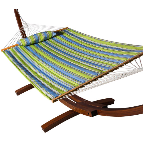 Lazy Daze Hammocks All Weather Olefin Fabric Quilted Hammock with Spread Bar for Two Person, Solution Dyed and UV Protection Fabric, 450 Pounds Capacity, Parrot Stripe