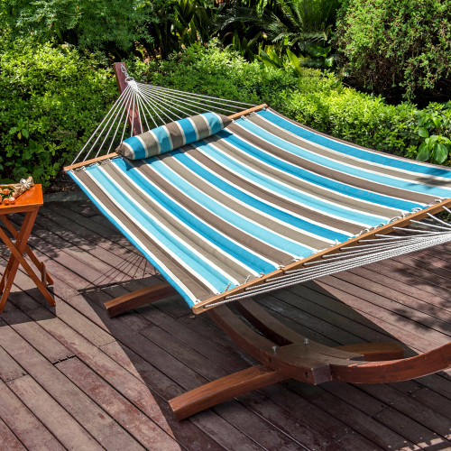 Lazy Daze Hammocks All Weather Olefin Fabric Quilted Hammock with Spread Bar for Two Person, Solution Dyed and UV Protection Fabric, 450 Pounds Capacity, Cool Blue Stripe