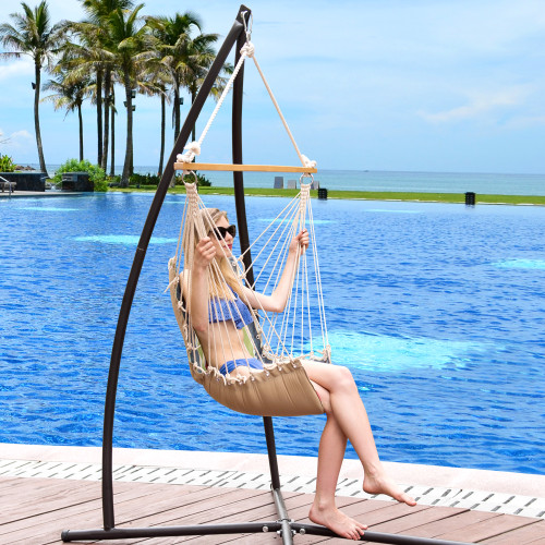 Lazy Daze Hammocks Cushioned Hanging Hammock Swing Lounger Chair All Weather Rope Chair Cotton Padded Hammock Seat, Capacity 350 lbs, Blue
