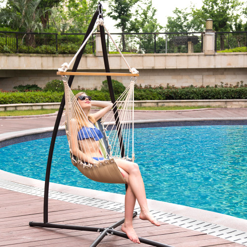 Lazy Daze Hammocks Cushioned Hanging Hammock Swing Lounger Chair All  Weather Rope Chair Cotton Padded Hammock