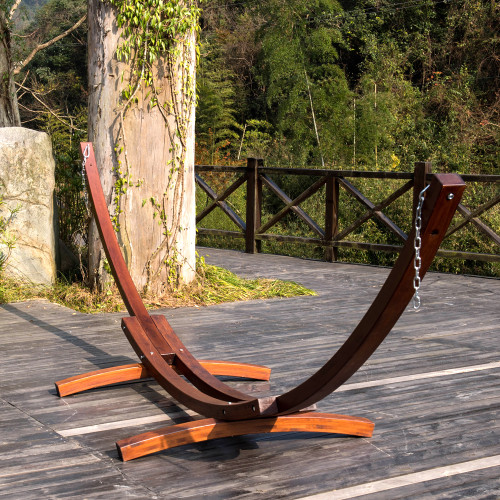 lazy daze hammocks 14 foot russian pine hardwood arc frame hammock stand with hooks and chains lazydaze hammocks 12 ft  wood arc hammock stand with 2 person      rh   sundaleoutdoor