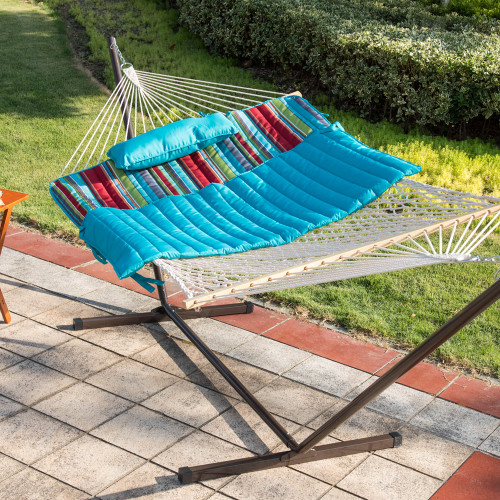 Lazy Daze Hammocks 12 Feet Steel Hammock Stand with Cotton Rope Hammock Combo, Quilted Polyester Hammock Pad and Pillow, Blue&Red Stripe