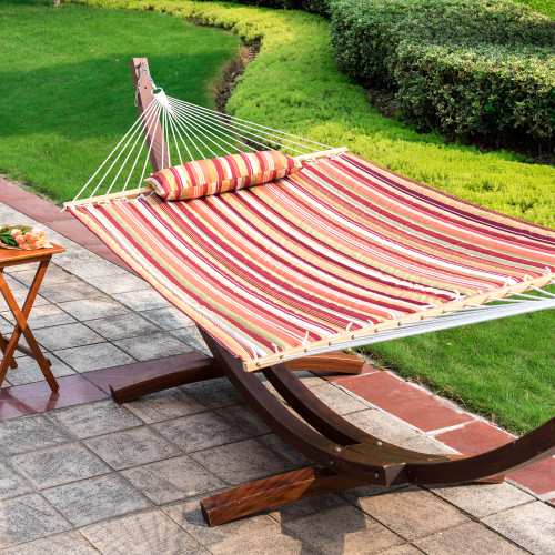Lazy Daze Hammocks Quilted Fabric Double Size Spreader Bar Heavy Duty Stylish Hammock Swing with Pillow for Two Person, Rainbow