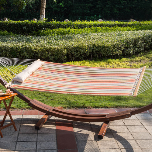 Lazy Daze Hammocks Quilted Hammock Double Size Spreader Bar Heavy Duty Stylish Hammock Swing with Pillow for Two Person, Orange Stripe