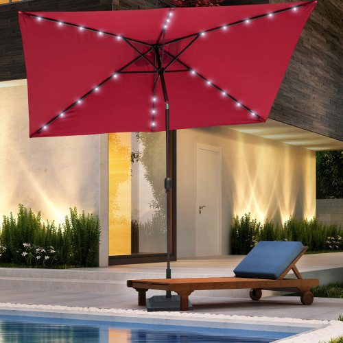 Sundale Outdoor Rectangular Solar Powered 26 LED Lighted Outdoor Patio Umbrella with Crank and Tilt, Aluminum, 9 by 6.5-Feet, Red