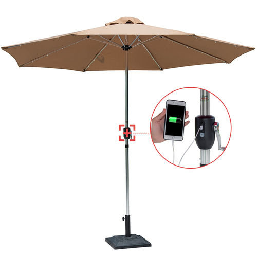 Sundale Outdoor Deluxe Solar Powered 32 LED Lighted Patio Garden Aluminum Market Umbrella with Crank, 10 Feet,Tan