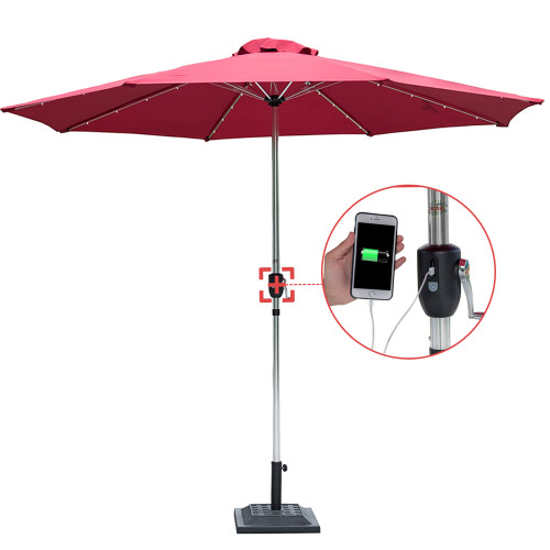 Sundale Outdoor Deluxe Solar Powered 32 LED Lighted Patio Garden Aluminum Market Umbrella with Crank, 10 Feet,Red