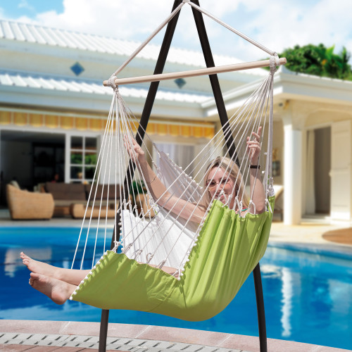 Lazy Daze Hammocks Large Hanging Hammock Swing Lounger Chair Seat with Footrest and 2 Throw Pillows, Patio Porch Swing Seat, Capacity 350 lbs, Green/White