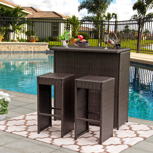 3PC Wicker Bar Set Bar Table and 2 Bar Stools Set Patio Garden Backyard Wicker Furniture Set