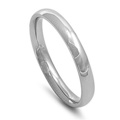 Silver Stainless Steel Plain Comfort Fit 3mm Wedding Band / Ring