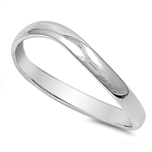 Brand New Sterling Silver 925 Curved Wedding Band Ring