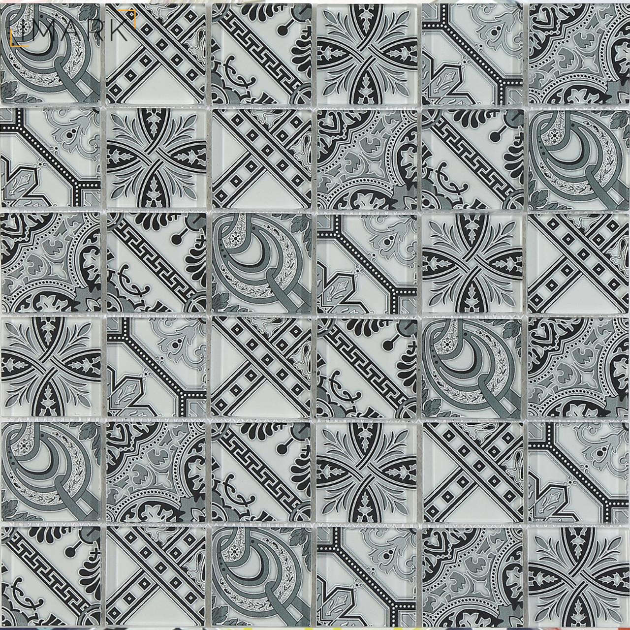 Arabesque Pattern Design Digital Print Glass Mosaic Tile Backsplash ...
