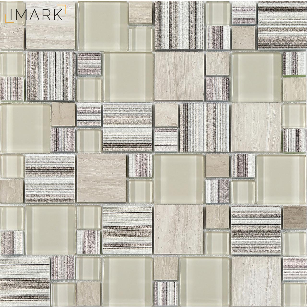 Fabric Texture Digital Inkjet Printed Glass Mosaic Tile For Kitchen Backspalsh