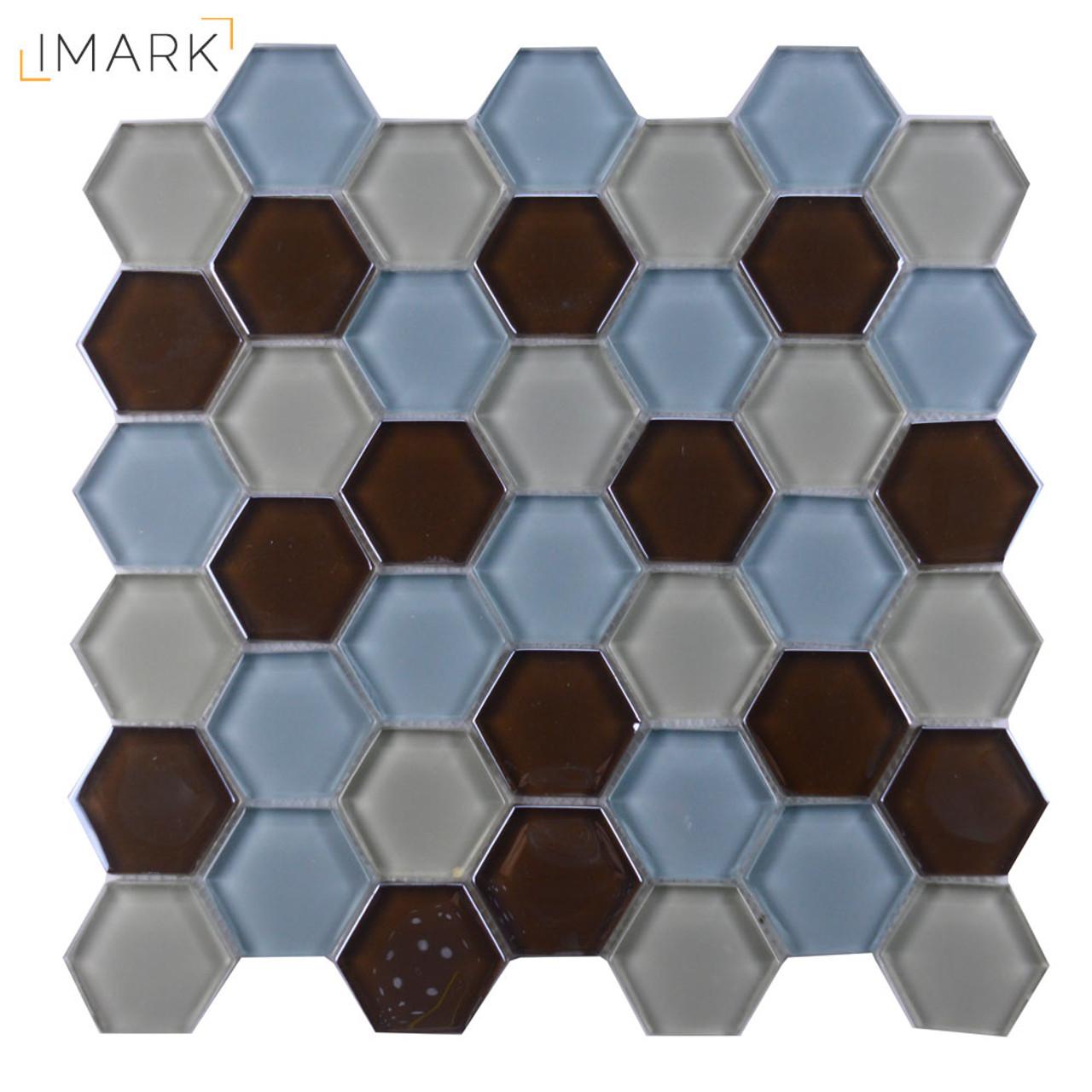Hexagon Crystal Glass Mosaic Backsplash Tile
