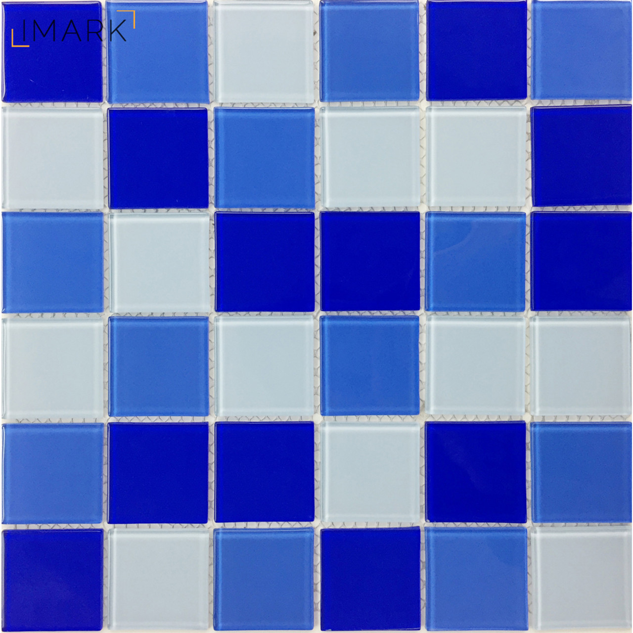 48mm Blue Mix Glass Mosaic Tile For Swimming Pool Construction
