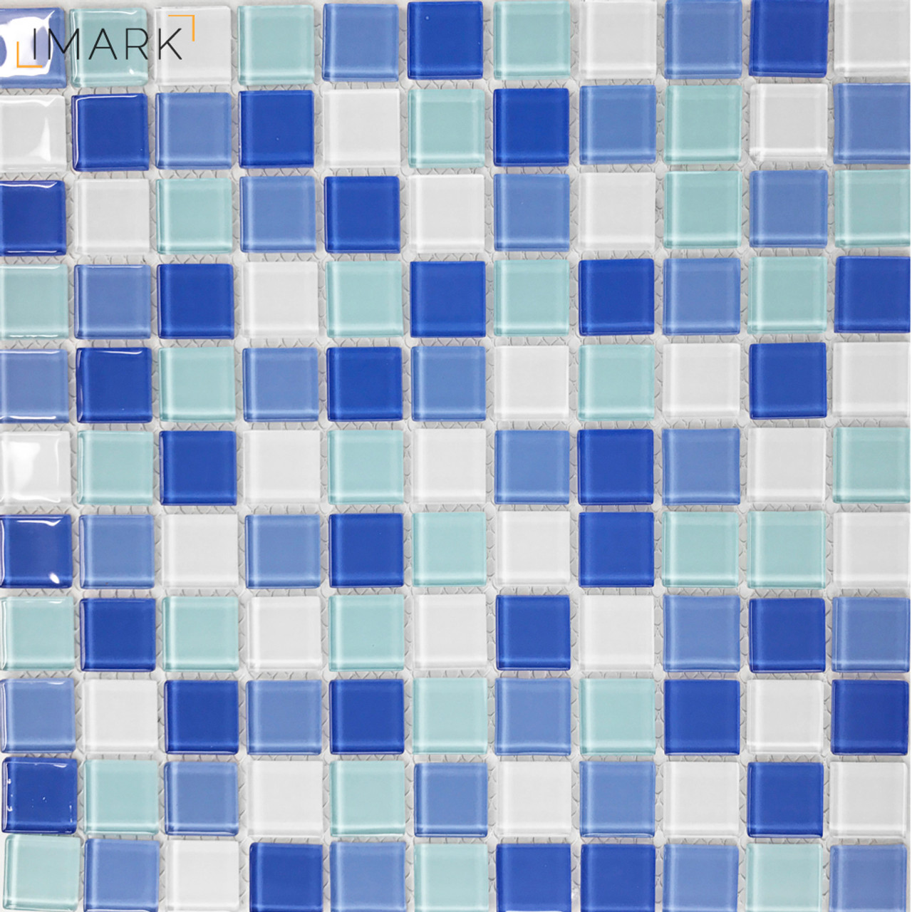 Glass Mosaic for Swimming Pool Tile Blue White Mix Crystal ...