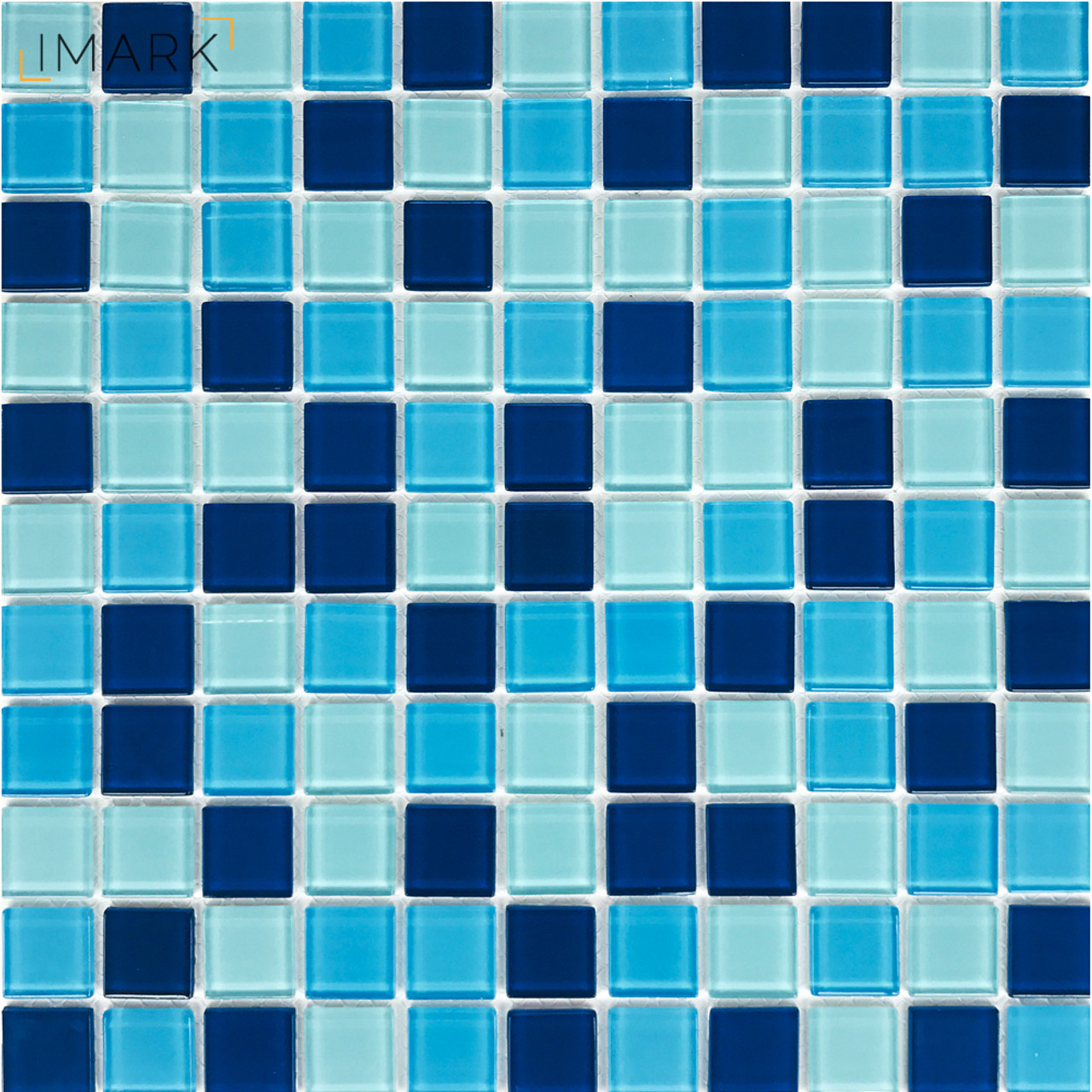 Cobalt Blue Mix White Crystal Glass Mosaic Tile Stikers For Kitchen ...