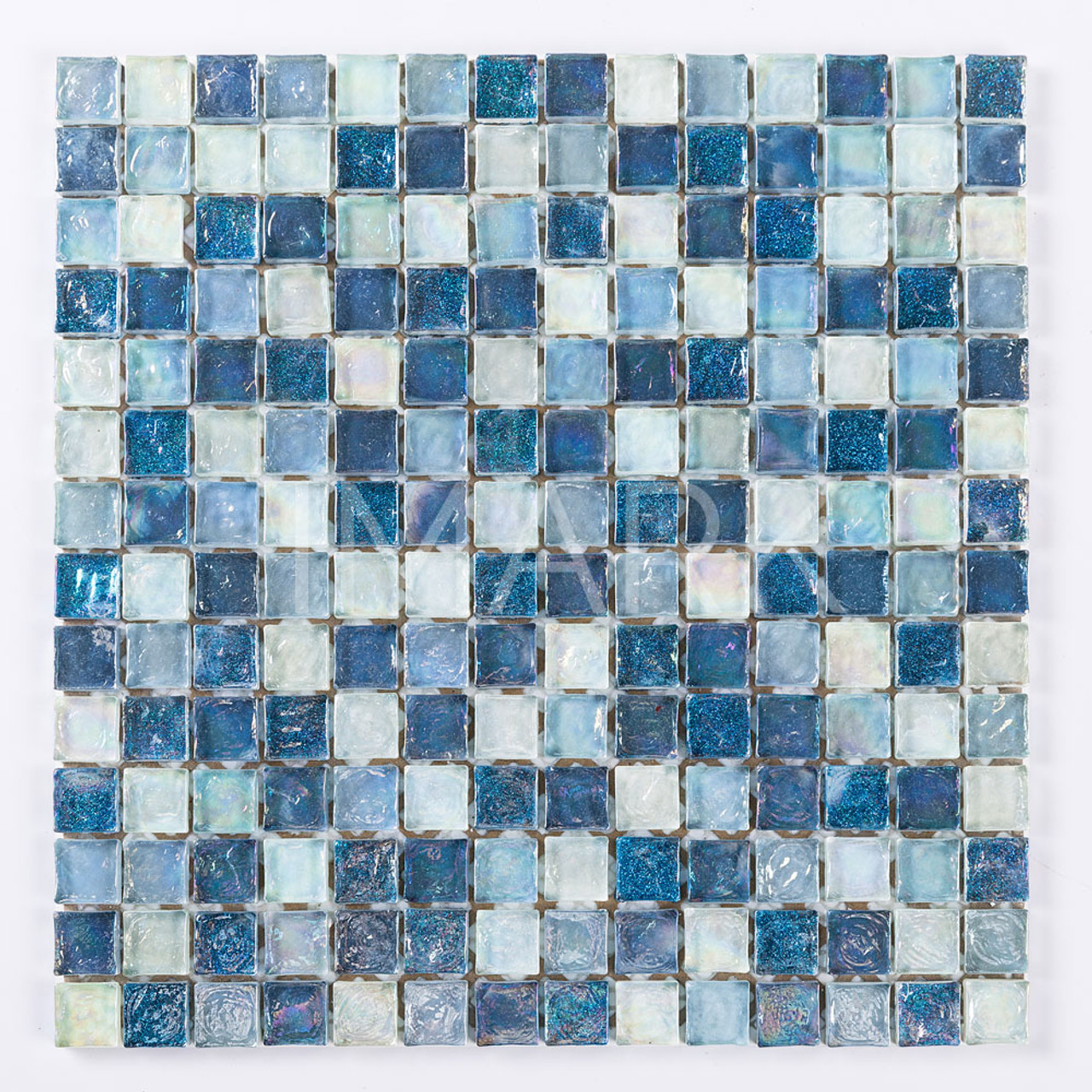 Blue Mix Brick Iridescent Glass Mosaic Tile Backsplash