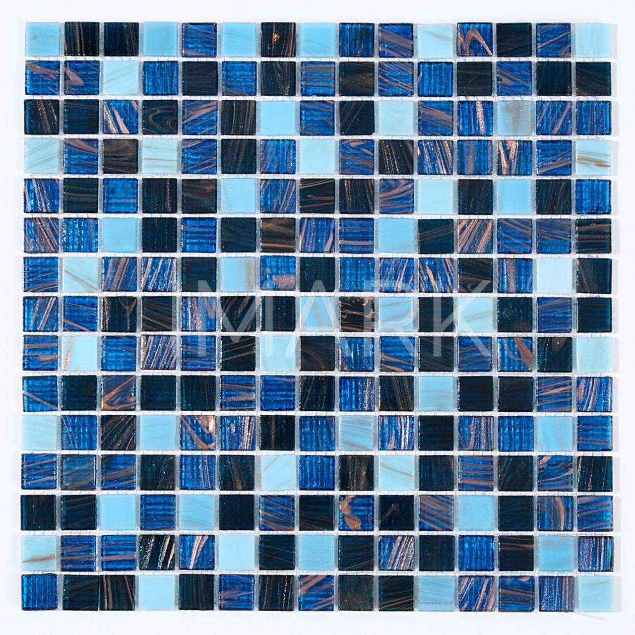 Hot Sales Blue Mix Gold Line Glass Mosaic Tile For Bathroom Tile ...
