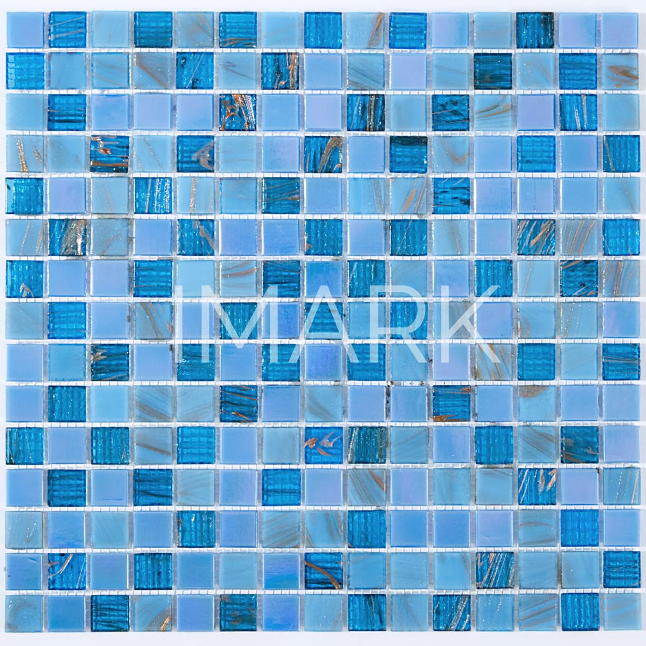 Blue Copper Blend 3/4\'\' x 3/4\'\' Glossy Glass Tile