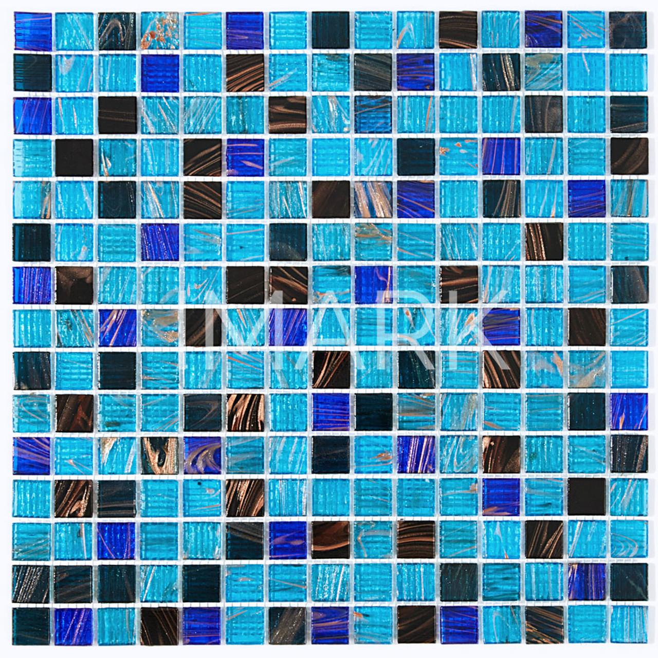 Wholesale Blue Mix Gold Line Glass Mosaic Tile For Ktichen Back Splash