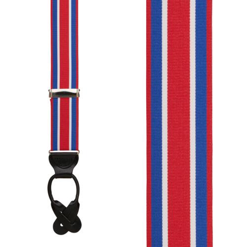 Red White & Blue Stripe Grosgrain BUTTON Suspenders