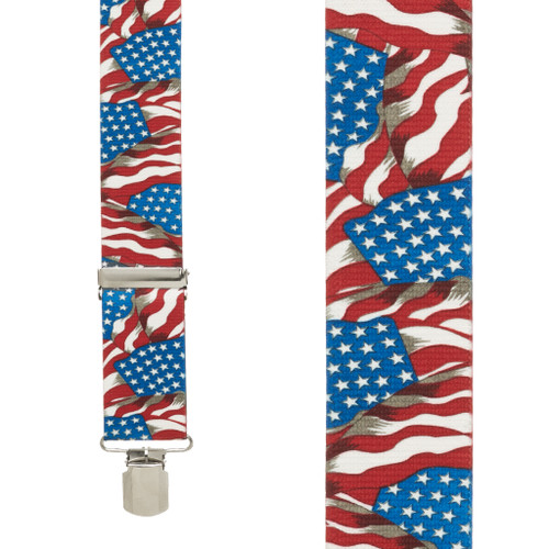 FLAG Suspenders - AMERICAN, 2-Inch Wide Pin Clip