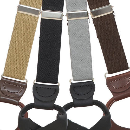 1 Inch Wide Solid Color Button Suspenders - Kids & Youth