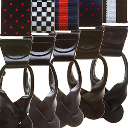1.5 Inch Wide Button Suspenders - Stripes, Dots, Checks
