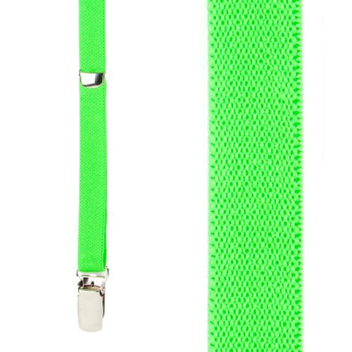 1/2 Inch Wide Skinny Suspenders - NEON GREEN