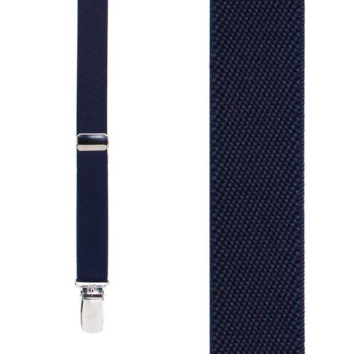 Navy Blue Thin Suspenders - Matte 3/4 Inch Wide