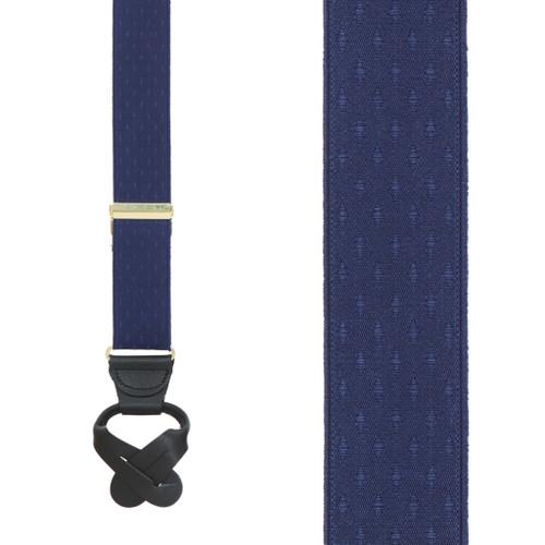 Navy Blue Jacquard Suspenders - Petite Diamonds Button