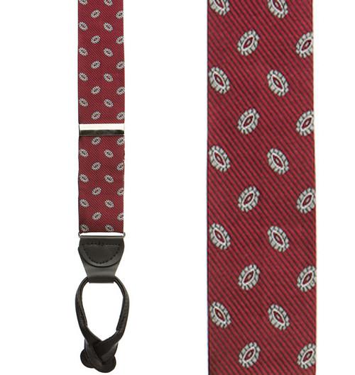 Burgundy Silk Suspenders Sale - Button
