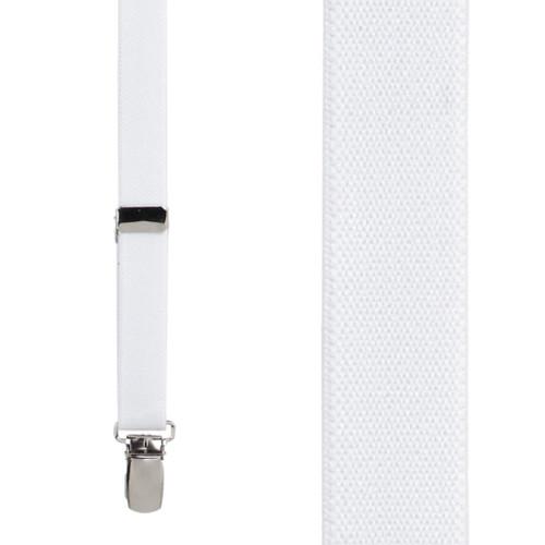 3/4 Inch Wide Thin Suspenders - WHITE (Matte)