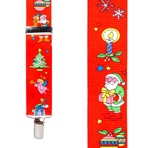 Santa on Red Suspenders - 1.5 Inch Wide Clip