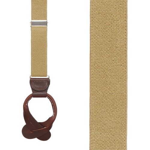 1 Inch Wide Button Suspenders - TAN