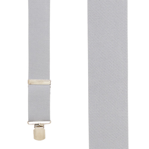 2 Inch Wide Pin Clip Suspenders - LIGHT GREY