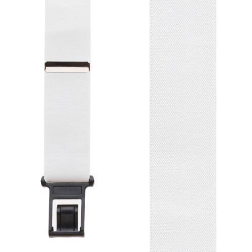 White Perry Suspenders - 1.5 Inch Wide Belt Clip