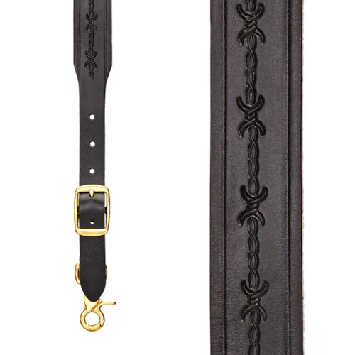 Barbed Wire 1.5 Inch Wide Western Leather Suspenders - BLACK