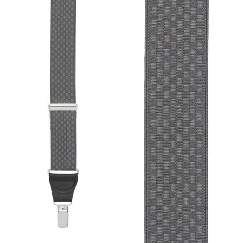 Grey Jacquard  Suspenders - Checkered Clip